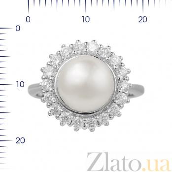 Серебряное кольцо Виоланта с жемчугом и фианитами 000081605