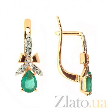 Серьги из красного золота с изумрудами и бриллиантами Мериса ZMX--EDE-5534_K