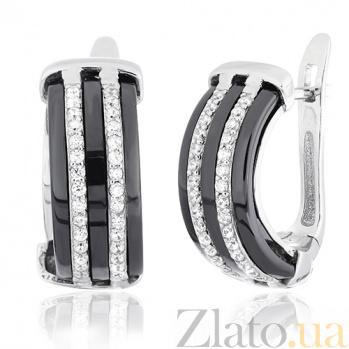 Серебряные серьги с керамикой и фианитами Алвард SLX--СК2ФК/1005