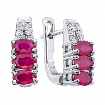 Серебряные серьги с рубинами и фианитами 000117844