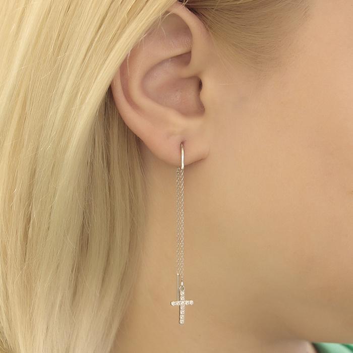 Серебряные серьги-протяжки Крестик с кристаллами циркония 000072664