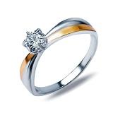 """Кольцо из серебра с золотом и белым цирконием """"Сэнс"""""""