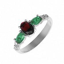 Серебряное кольцо Ундина с гранатом, зеленым кварцем и фианитами