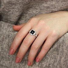 Серебряное кольцо Виолетта с ониксом и фианитами в стиле Ван Клиф