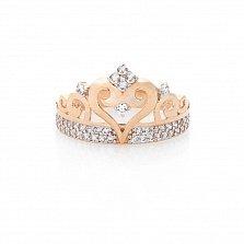 Золотое кольцо Царевна с фианитами