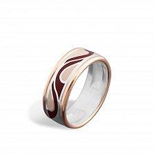Серебряное кольцо Агафья с золотыми накладками, коньячной и розовой эмалью