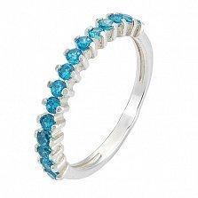 Серебряное кольцо с голубым цирконием Моя леди