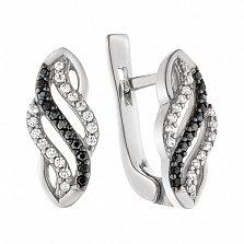 Серебряные серьги Танец для двоих с фианитами