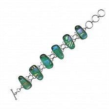 Серебряный браслет Мелисса с имитацией опала в зеленой гамме и регулируемым размером