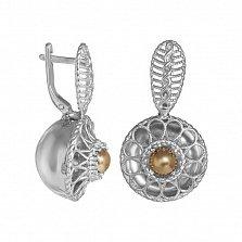 Серебряные серьги Маргарита с золотой вставкой