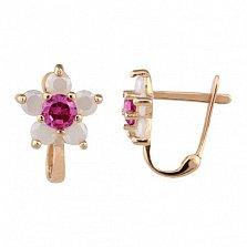 Золотые серьги Орхидея с розовыми фианитами