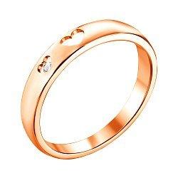 Каблучка з червоного золота з діамантом і сердечками 000131432