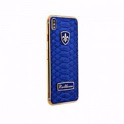 Apple IPhone XS MAX Noblesse ODLIGE BLUE PYTHON в синей коже питона, серебре и позолоте