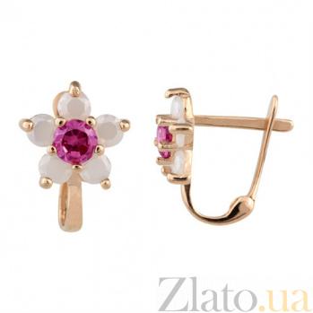 Золотые серьги Орхидея с розовыми фианитами SUF--101412к