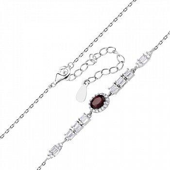 Срібний браслет з гранатом і фіанітами 000140358