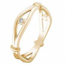 Золотое кольцо Всевидящее око в желтом цвете с завальцованными фианитами