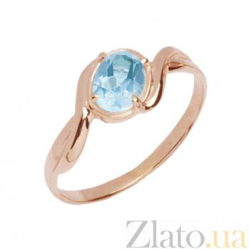 Золотое кольцо с голубым топазом Бертина 000023850