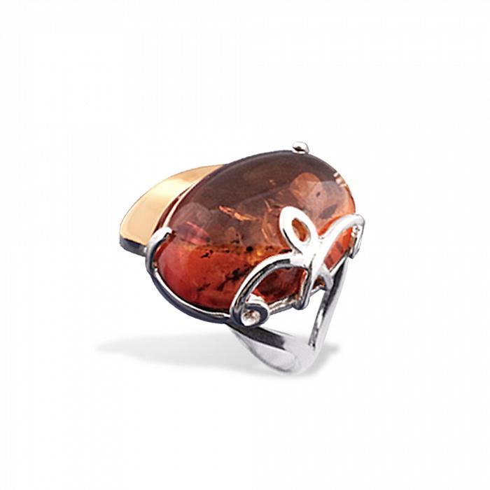 Серебряное кольцо Мелинда с золотой накладкой, янтарем и родием 000079107
