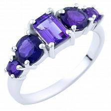 Серебряное кольцо Галия с аметистами