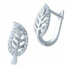 Серебряные серьги-пуссеты Листочки с фианитами
