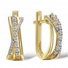 Серьги из желтого золота Ксантия с бриллиантами