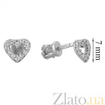 Золотые серьги-пуссеты в белом цвете Сердечки LEL--80015