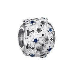 Серебряный шарм с белой эмалью и синими фианитами 000126810