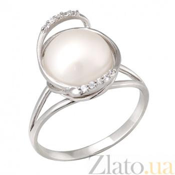 Золотое кольцо с жемчугом и фианитами Примроуз 000023202