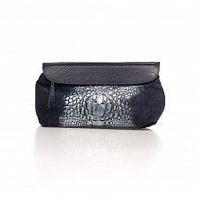 Кожаный клатч Genuine Leather 1385 темно-синего цвета с принтом рептилии и плечевым ремнем