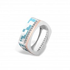 Серебряное кольцо Эльнара с золотой накладкой, фианитами, голубой и белой эмалью