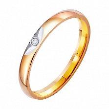 Золотое обручальное кольцо Весна любви с фианитом