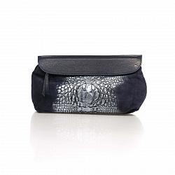 Кожаный клатч Genuine Leather 1385 темно-синего цвета с принтом рептилии и плечевым ремнем 000092082