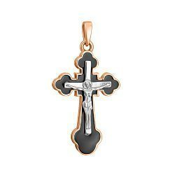 Золотой крестик Светоч в комбинированном цвете с черной эмалью