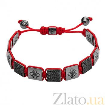 Браслет Шамбала с квадратными бусинами красный Ш3квадрат крас