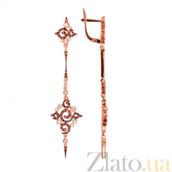 Удлиненные серьги из красного золота Кассиопея VLT--ТТТ2276-2