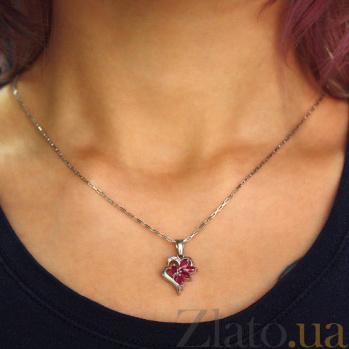 Серебряная подвеска с рубинами и бриллиантами Эмма ZMX--PDR-5005-Ag_K