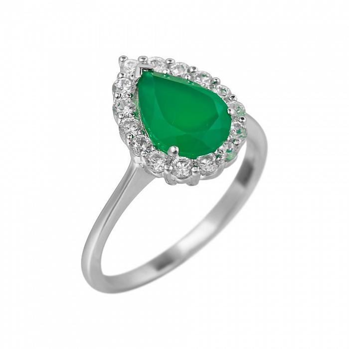 Серебряное кольцо Сусанна с зеленым агатом и фианитами 000081586