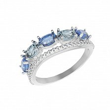 Серебряное кольцо Таиса с кварцем под голубой и лондон топазы и фианитами