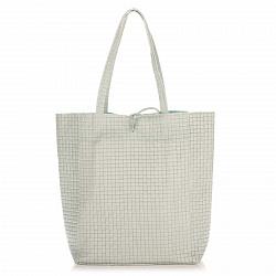 Кожаная сумка на каждый день Genuine Leather 8040 светло-голубого цвета на завязках