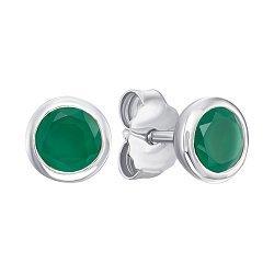 Серебряные серьги-пуссеты с изумрудами 000144879