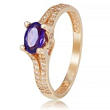 Золотое кольцо Хармони с аметистом и фианитами
