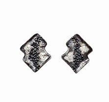 Серебряные серьги-пуссеты Метеоритный дождь с чернением