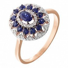 Золотое кольцо Анджали с сапфирами и бриллиантами