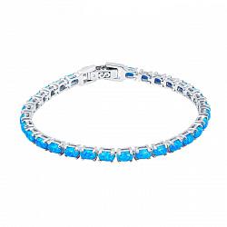 Серебряный браслет с голубыми опалами Васильковое поле