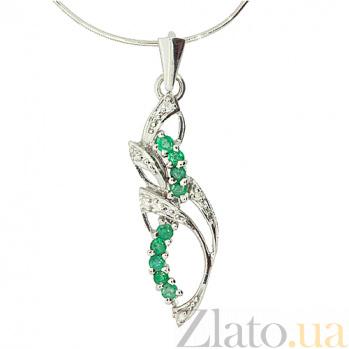 Серебряный кулон с изумрудами и бриллиантами Бланес ZMX--PDE-6191-Ag_K
