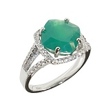 Серебряное кольцо с халцедоном и фианитами Эвон