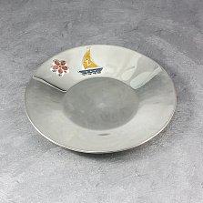 Серебряное блюдце Летнее настроение с цветочком и парусником