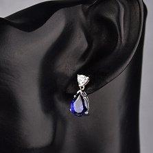 Серебряные пуссеты-подвески Валерия с белым и синим кристаллами циркония