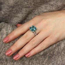 Серебряное кольцо Аурелия с голубым и белым цирконием