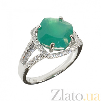 Серебряное кольцо с халцедоном и фианитами Эвон 3К846-0396